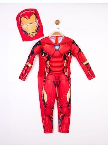 IRONMAN Iron Man Lisanslı Kaslı Çocuk Kostüm Kırmızı
